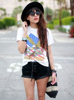 lace-up-short-street-style-casual-tshirt