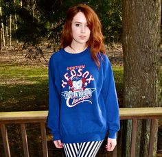 BOSTON RED SOX 1980s Vintage Sweatshirt Blue Mens by louise49, $45.00