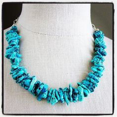Kingman Arizona Turquoise Chunky Necklace Sterling Silver from Resa Wilkinson Jewelry