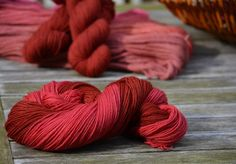 Alpaka and wool dyed with Lac Dye