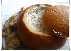 Plnený chlebík & Sedliacke fondue Fondue, Baked Potato, Muffin, Potatoes, Baking, Breakfast, Ethnic Recipes, Salt, Morning Coffee