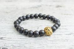 Matte black onyx beaded gold Lion head stretchy bracelet, made to order yoga bracelet, mens bracelet, womens #bracelet