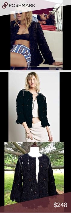 """Free People black beautifully handcrafted jacket M Free People black Heirloom Macrame Jacket This beautifully handcrafted jacket, designed to love for a lifetime, has been done in a luxe macrame with natural wood bead accents.  Features bohemian fringe trim detailing and contrast silver stitching * open front * easy fit New With Tags  *  Size:  Medium  retail price:  $298.00  Heirloom One of 9 exclusive, in-house labels.   100% cotton * natural wood beads dry clean only  measures: 46"""" around…"""