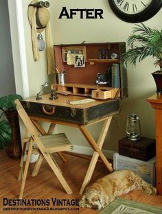 suitcase desk from a wardrobe trunk diy how to painted furniture repurposing upcycling rustic furniture woodworking projects Repurposed Furniture, Rustic Furniture, Painted Furniture, Furniture Design, Diy Furniture Upcycle, Furniture Ideas, Vintage Furniture, Desk Ideas, Ikea Furniture