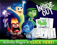 Disney craft: Downloadable  Inside Out Activity Pages and more!