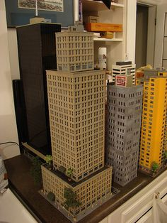 N Scale city models and skyscrapers (future train layout) - SkyscraperPage Forum Minecraft City Buildings, Minecraft Architecture, N Scale Model Trains, Model Train Layouts, Chocolate House, City Layout, Train Platform, Minecraft Plans, City Model