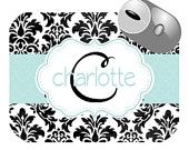 Personalized Custom Mousepad with Name and Initial - black damask with light blue accents
