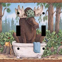 Moose Bathroom Bath Wildlife Double Style Toggle Light Gfi Rocker Outlet Plate Great Home Decor For