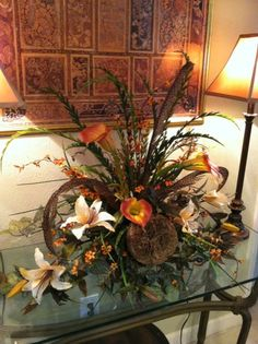 Calla lilies & lilies with feathers. Custom Order silk floral design by Greatwood Floral Designs.