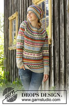 Winter carnival / DROPS - free knitting patterns by DROPS design Knitted sweater in DROPS Karisma. The piece is worked from top to bottom with round yoke, Norwegian pattern and A-cut. Fair Isle Knitting Patterns, Knitting Charts, Knit Patterns, Free Knitting, Sock Knitting, Vintage Knitting, Stitch Patterns, Finger Knitting, Drops Design