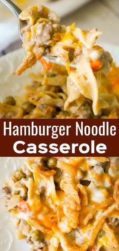 Hamburger Noodle Casserole is an easy ground beef casserole recipe loaded with egg noodles, veggies, cheese and crispy fried onions. Hamburger Noodle Casserole - This is Not Diet Food Hamburger With Egg, Dinner Recipe Using Hamburger, Beef Recipes For Dinner, Hamburger Recipes, Hamburger Noodle Casserole, Beef Casserole Recipes, Hamburger Hotdish, Chicken Casserole, Easy Ground Beef Casseroles