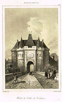 "Bas's France Encyclopedique - ""HOTEL DE VILLE DE VENDOME"" - Steel Engraving - 1841"