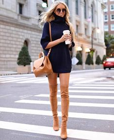 Winter Outfits To Copy ASAP: Navy sweater dress with tan over the knee boots., Winter Outfits To Copy ASAP: Navy sweater dress with tan over the knee boots. These casual winter outfits will keep you warm when other cold weath. Casual Winter Outfits, Winter Fashion Outfits, Autumn Fashion, Classy Outfits, Summer Outfits, Chic Outfits, Casual Fall, Cold Winter Fashion, Winter Boots Outfits