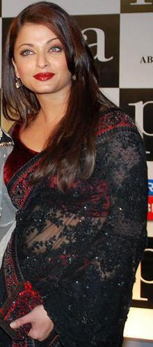 Aishwarya in Unique Black Style  http://www.bharatplaza.com/unique-black-style.html love her lipstick