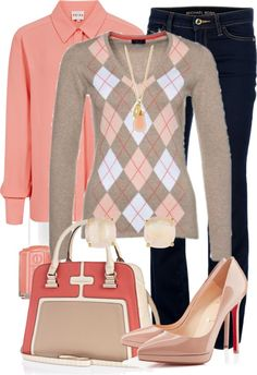"""This is very cute. I would do this on the weekend into evening look-""""coral argyle"""" by meganpearl on Polyvore"""