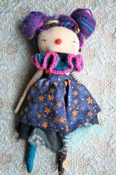 Clown little Lu doll lovely dark 13ish clown folk by humbletoys