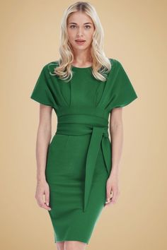 Vintage Chic Kimono Sleeve Green Dress 100 40 19645 20160330 0007W