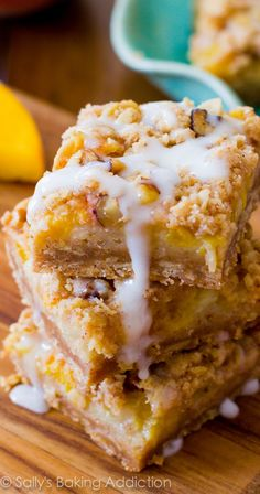 Take advantage of summer's fresh peaches with these easy bars. A four layered bar with a brown sugar/oat crust, topped with a creamy peach filling, pecan streusel, and finished off with luscious vanilla glaze.