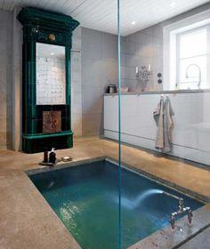 Rustic Bathroom Design with Concrete Bathtub. Can I have this pleae? Rustic Bathroom Designs, Eclectic Bathroom, Rustic Home Design, Modern Design, Rustic Style, Bathtub Designs, Bathtub Ideas, Bathroom Interior, Modern Bathroom