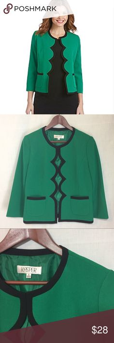 "Kasper Emerald Green Black Scallop Crepe Jacket 6 Kasper Emerald Green Black Trim Scallop Crepe Open Jacket Blazer  Sz 6 97% polyester 3% elastane shell Fully lined No closure Light shoulder pads 3/4 sleeves Measured flat  22.5"" length  13.75"" sleeve inseam 18.5"" bust 1.5"" sleeve cuff vent No imperfections, very good preloved condition Kasper Jackets & Coats"