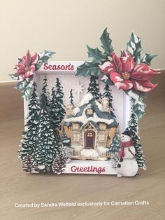 Christmas Card Crafts, Christmas Tag, Xmas Cards, Poinsettia Cards, Tattered Lace Cards, Craft Stash, Card Making Tips, Cricut Cards, Christmas Villages