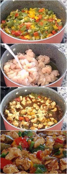 FRANGO XADREZ, ESSE FICA DELICIOSO!!  VEJA AQUI>>>Em uma frigideira ou panela grande, misture a metade do azeite de oliva, a cebola, o alho e deixe fritar Retire e coloque em um prato #FRANGO#FRANGOXADREZ#