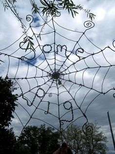 Charlotte's Web Inspired Barbed Wire Spider Web by the dusty raven - 75.00
