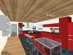 What shall we make for dinner with our double stacked ovens & KitchenAid mixer?   Pier 1 Imports, IKEA USA & Samsung Televisions available: http://planner.roomsketcher.com/?ctxt=rs_com  3D floor plan for kitchen with red decor & fixtures designed in RoomSketcher by liamwebster