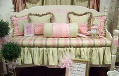 Bed turned into a bench.  Great for a little girls room