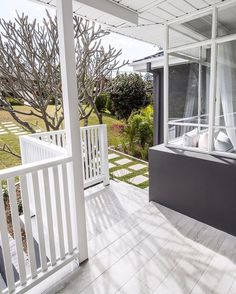 Oh front of house, you have so been Insta neglected! ✌️its amazing how much a balustrade and paint can change the whole look and feel of a property! Our white washed timber look tiles may have helped a tad also paint colour Gilbralta by House Deck, Facade House, House Front, House Exteriors, Deck Balustrade Ideas, Balustrades, Veranda Railing, Balcony Railing Design, Exterior Tiles