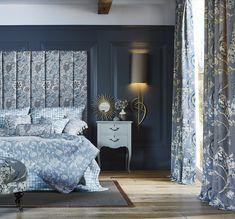 #prestigioustextiles #hampstead #countryliving #homedecor #homeinspo #homeinspiration #fabrics #textiles #softfurnishings #livingroomideas #homeinterior #homeinteriorideas #blue #bluecolourpalette #artsandcrafts #artsandcraftsmovement #britishliving #design #florals #jacobean #bedroomideas #bedroom #headboard #curtains #cushions #upholstery How To Make Curtains, Made To Measure Curtains, Outdoor Floor Cushions, Floor Pillows, Prestigious Textiles, How To Hang Wallpaper, Home Trends, Soft Furnishings, Benjamin Moore