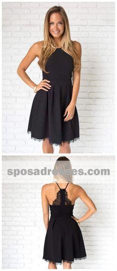 c4cc8a509c7 Simple Casual Short Cheap Black Homecoming Dresses 2018
