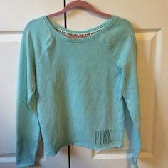 PINK long sleeve turquoise PINK Victoria's Secret Tops Tees - Long Sleeve