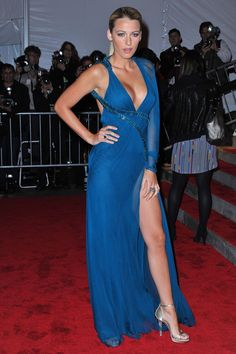 Blake Lively in blue Versace dress at the Met Ball