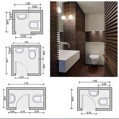 Collection of the most functional, practical and beautiful bathroom designs on one place Collection of bathroom designs are presented in this post. As the smallest and the most practical area in people's homes, the. Bathroom Layout Plans, Small Bathroom Layout, Bathroom Design Layout, Bathroom Floor Plans, Bathroom Interior Design, Bathroom Designs, Toilet Plan, Bathroom Dimensions, Plumbing Installation