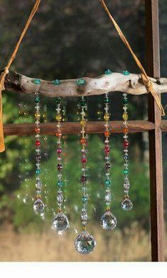 Driftwood branch strung with leather (chain might be better) and bright reflective beads as suncatcher - Fire Mountain Gems, designed by Mary Wertz, includes materials list Diy And Crafts, Arts And Crafts, Cork Crafts, Upcycled Crafts, Shell Crafts, Homemade Crafts, Bottle Crafts, Resin Crafts, Creative Crafts