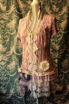 Boho fairy inspired romantic upcycled tunic in pink and