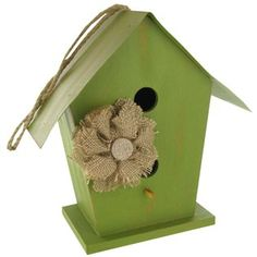 Decorate your favorite room with this green birdhouse with burlap flower!
