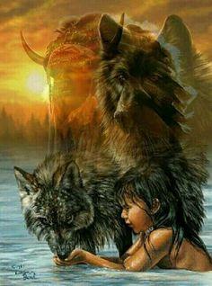 My Spirit Animal 💕 Native American Wolf, Native American Paintings, Native American Wisdom, Native American Pictures, Native American Beauty, American Indian Art, Native American History, Native Indian, Native Art