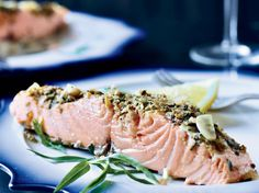 Slow-Roasted Salmon with Tarragon and Citrus Top Chef Masters winner Floyd Cardoz reveals his secrets to slow-roasting salmon with Provencal flavors like garlic, shallots, citrus, thyme and fennel. Citrus Recipes, Chef Recipes, Salmon Recipes, Wine Recipes, Seafood Recipes, Great Recipes, Cooking Recipes, Healthy Recipes, Kosher Recipes