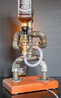 Liquor alcohol whisky dispenser, Firefighter Gift for Him, Jack Daniels Birthday, Father's Day Gift, Steampunk Fireman pipe robot Night Lamp - Valentinstag Geschenk für ihn Schnaps Alkohol Whisky Spender Whiskey Dispenser, Alcohol Dispenser, Drink Dispenser, Alcohol Bar, Jack Daniels Anniversaire, Whisky Spender, Jack Daniels Birthday, Firefighter Gifts, Pipe Lamp
