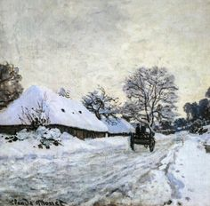 Claude MONET (French painter, 1840-1926): The Cart. Snow-covered road at Honfleur, 1867