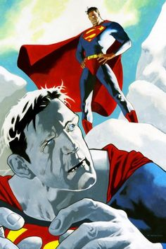 Superman and Bizarro by Kevin Nowlan.