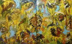 Zonnebloemen geïnspireerd door Marc Mulders, acryl