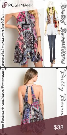 """NWT Pink Black Mix Paisley Halter Mini Tank Dress NWT Pink Black Mix Paisley Halter Mini Tank Dress  Available in S, M, L (1 M & 1 L left!) Measurements taken from a size small  Length: 33"""" Bust: 34"""" Waist: 36""""  Features  • squared halter style neckline • mixed ethnic ~ paisley print • open back detail • flowy silhouette  • single button closure at back of neck • zip closure at back • pink mix colors   100% Rayon  Bundle discounts available No pp or trades  Item # 1o1-6-16-0380PHTD Pretty…"""