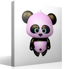 Vinilo infantil Oso panda rosa