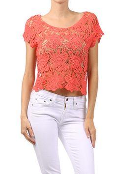 Crochet Lace Crop Top Unlined Cotton Cropped Blouse Shirt Geranium Pink New XS S | eBay