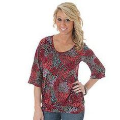 This soft, blousy top has a deep multicolor flower print for excellent versatility. @Big R Stores.com #wrangler