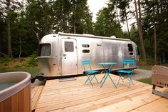 Woods on Pender: Private cedar deck with fire pit and 2 Tofino Cedar Adirondacks. Canvas Awnings, Deck Fire Pit, Cedar Deck, 7 Places, Double Hammock, Airstream Trailers, British Columbia, Glamping, Recreational Vehicles
