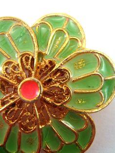 Vintage brooch green flower brooch enamel gold by LogicFreeVintage, $9.50